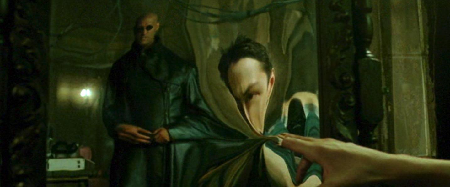 Neo di fronte allo Specchio appena prima dell'inizio della sua Vita Reale