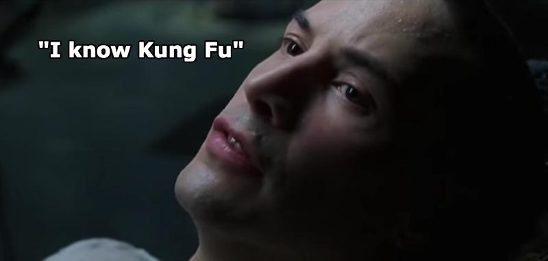 Neo che apprende rapidamente il Kung Fu: collegarsi alla matrice è in effetti il miglior sistema per studiare rapidamente e con metodo